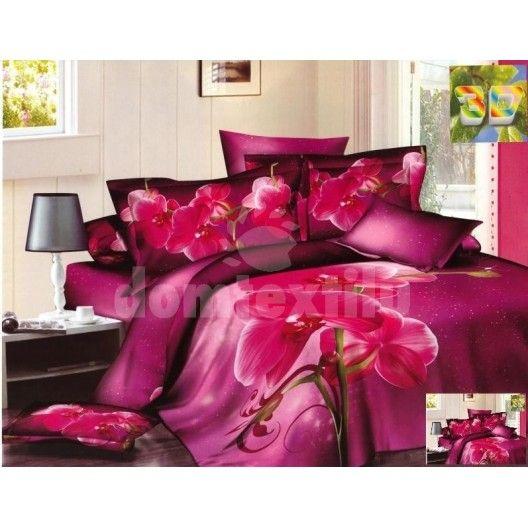 Fialové posteľné prádlo s motívom ružovej orchidey