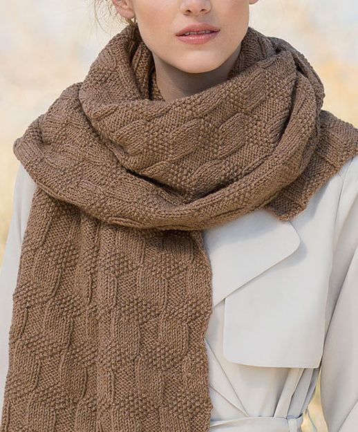 Knitting Pattern for Easy Vista Scarf - Escher-like quadrilaterals in stockinette, reverse stockinette, and seed stitch generate an endless field of cubes in this wide, cozy scarf. Rated easy by most Ravelrers. Designed by Maria Leigh