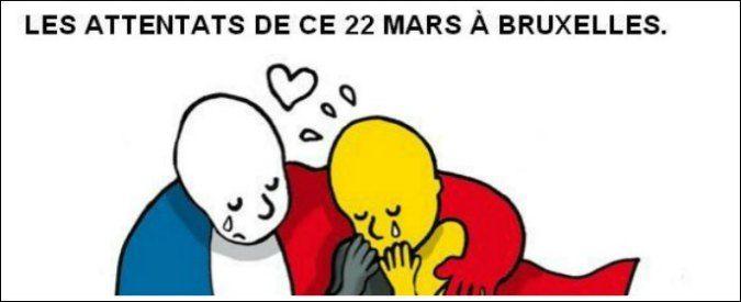La bandiera francese che abbraccia quella belga in lacrime e due date: Parigi, 13 novembre; Bruxelles, 22 marzo. Il disegno del vignettista di Le Monde Plantu è solo una delle immagini che a pochi minuti dagli attentati nel cuore dell'Europa ha cominciato a circolare in rete. Su Twitter e Facebook gli utenti mandano messaggi di …