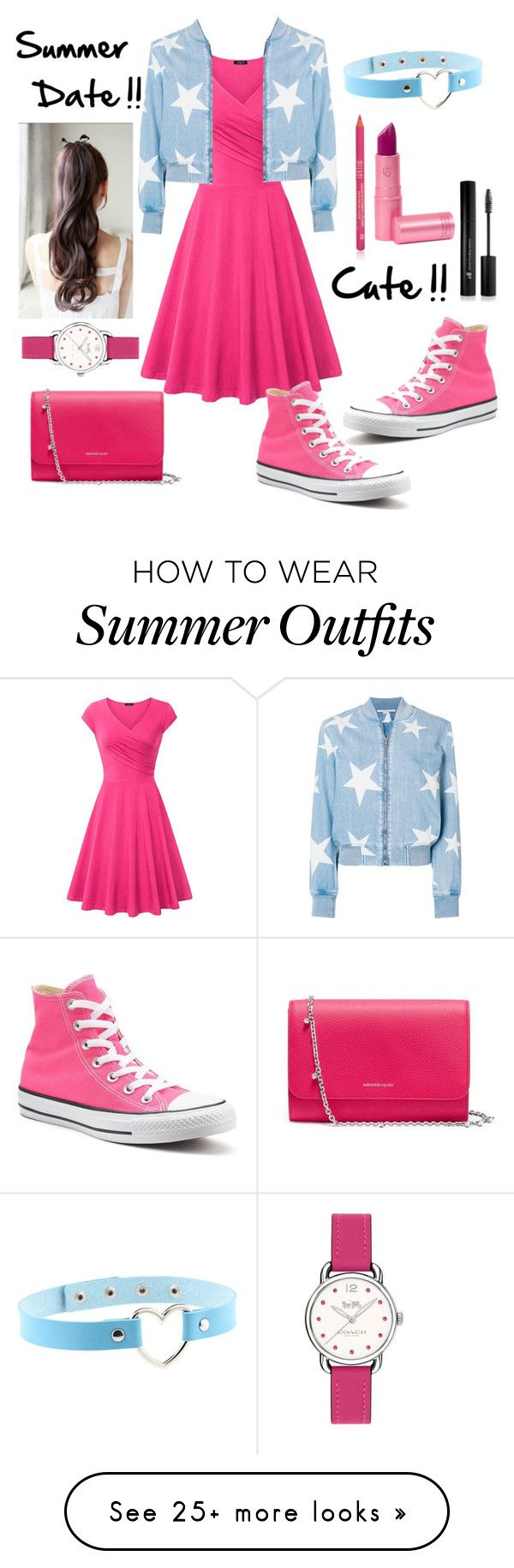 """""""Cute Summer Outfit!!!!"""" by andrea27lobo on Polyvore featuring WithChic, STELLA McCARTNEY, Converse, Lipstick Queen, Forever 21, Alexander McQueen and Coach"""