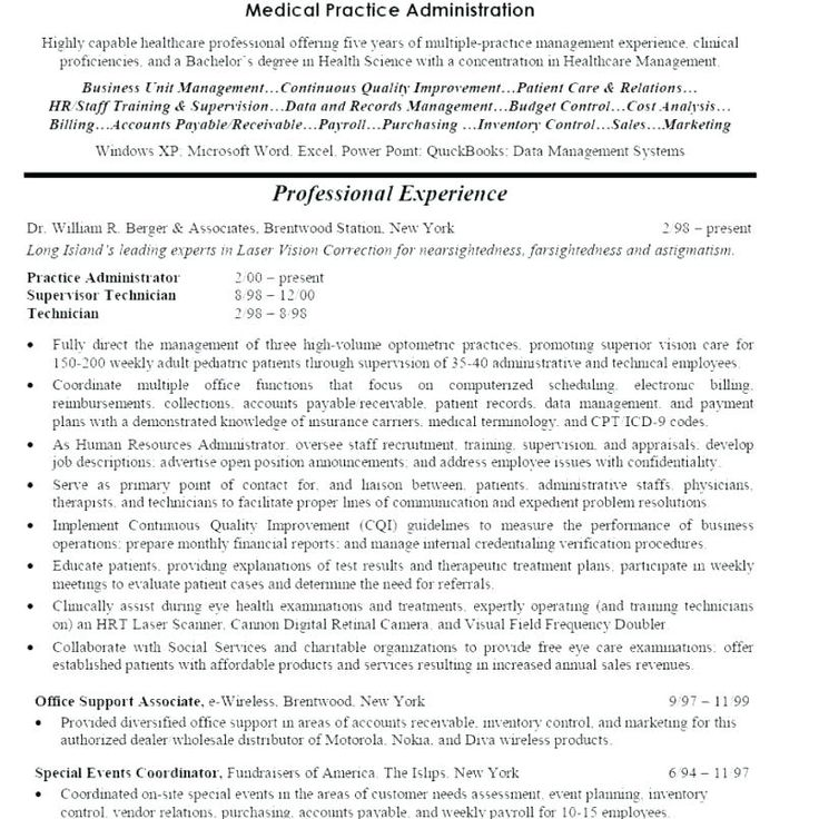 Resume For Medical Office Manager , practice administrator