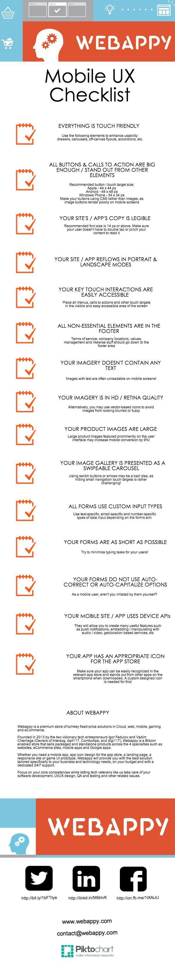 Mobile UX Checklist [Infographics] -- [Mobile Development] [Mobile Design] [App Design] [UX] #DigitalE45DK #BizzAppsDK #HyperSynectics