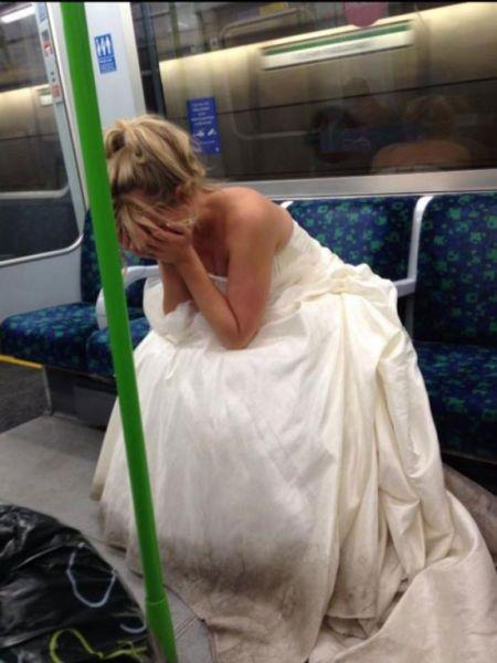 Sad bride underground
