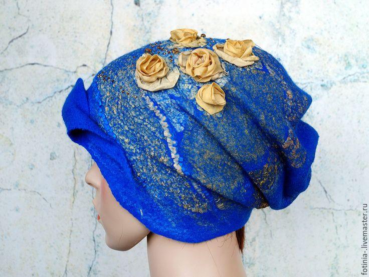 Купить Шапка валяная ЗОЛОТЫЕ РОЗЫ ( цена этого варианта) - синий, цветочный