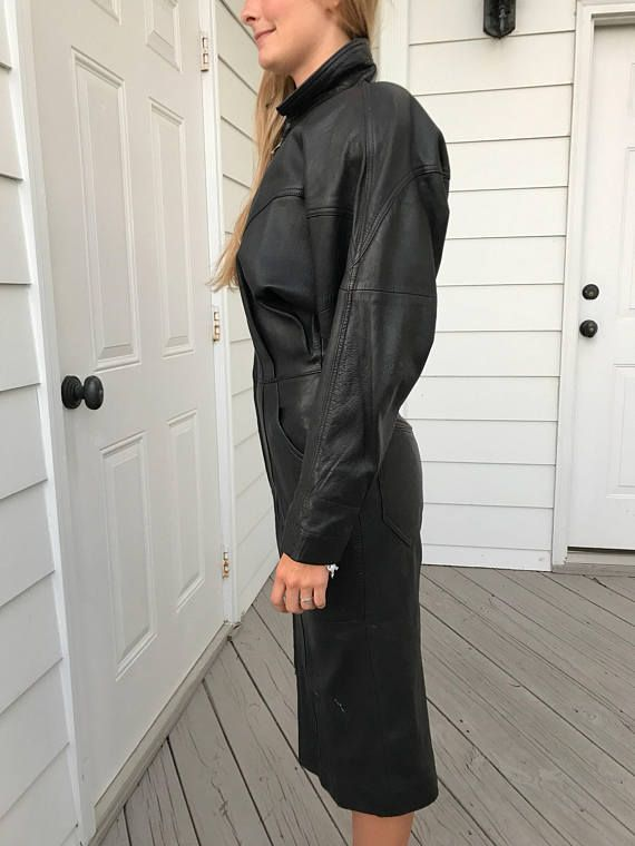 Awesome vintage black leather batwing dress by Vivien Caron
