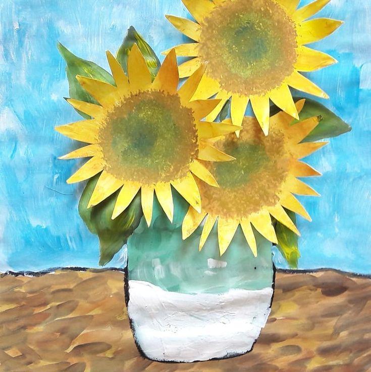 """Werbung (wegen Markennennung) """"DREI SONNENBLUMEN IN EINER VASE"""" nach Vincent van Gogh  Schritt 6: Sonnenblumenblätter ?? mit Synthetikpinsel au…"""