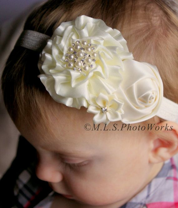 The Ivory Christmas Headband Baby Girl Pure by MLSPhotoWorksShop