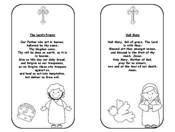 Now in Color and Black and White !!!!  Six bookmarks with the following prayers:The Lord's PrayerHail MaryGlory BeApostle's CreedGuardian Angel PrayerAct of ContritionStudents cut, color and decorate each bookmark.  You may copy onto stock card and laminate.