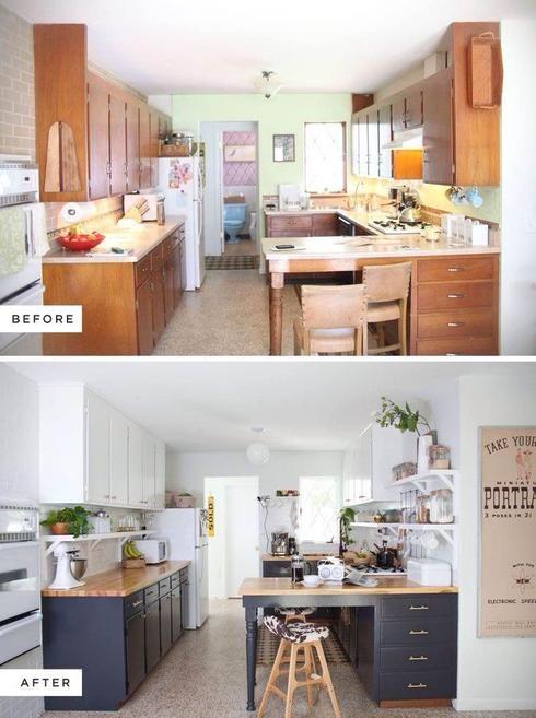 Armoire cuisine Avant-Après Opter pour la cuisine deux tons Cet avant/après démontre bien l'impact que peut avoir la peinture sur nos armoires de cuisine!  Cette transformation apporte de la lumière et de la fraîcheur à la pièce. De plus, les caissons du haut en blanc et ceux du bas en gris représentent une idée très tendance.