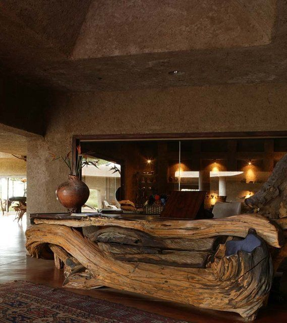 Fancy Huge Driftwood Ethnic Reception Desk