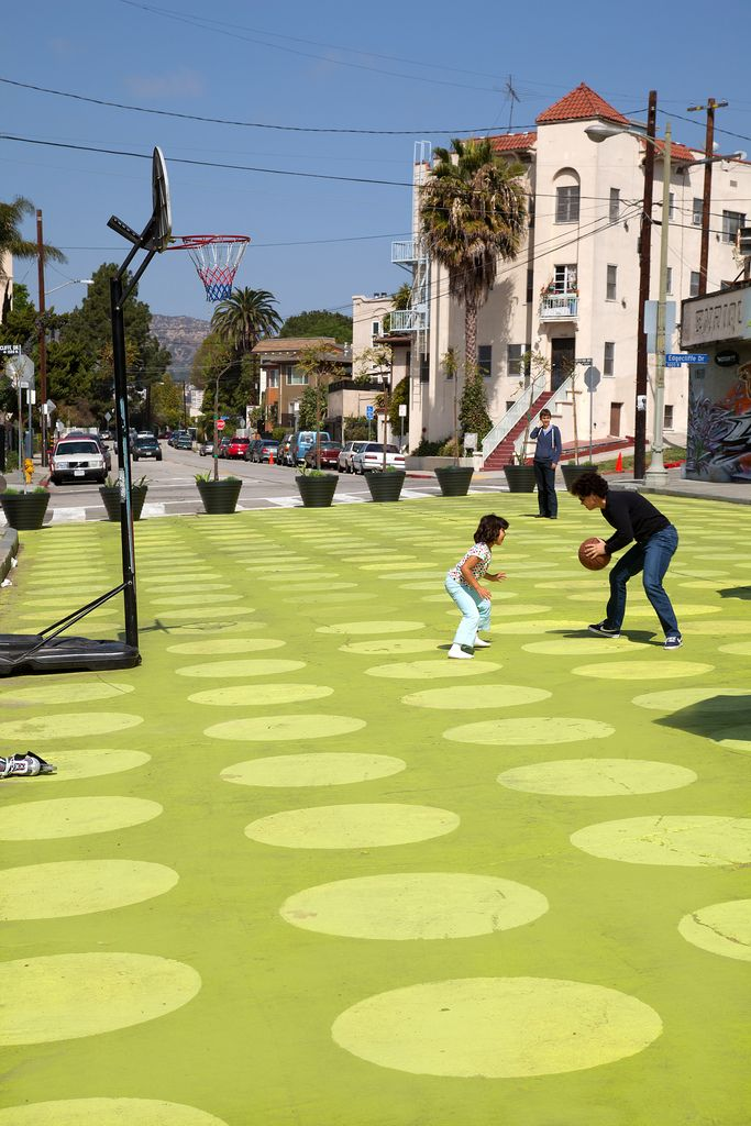People St / LADOT  Location: Silver Lake, City of Los Angeles Community Partner: Silver Lake Improvement Association (SLIA) Installed: March, 2012 Installed By: LADOT Designed By: LA County Department of Public Health, Frank Clementi & Rios Clementi Hale Studios, LADOT  Photo by: LADOT/Jim Simmons