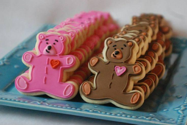Teddy Bear sugar cookies for a Build-a-Bear party.