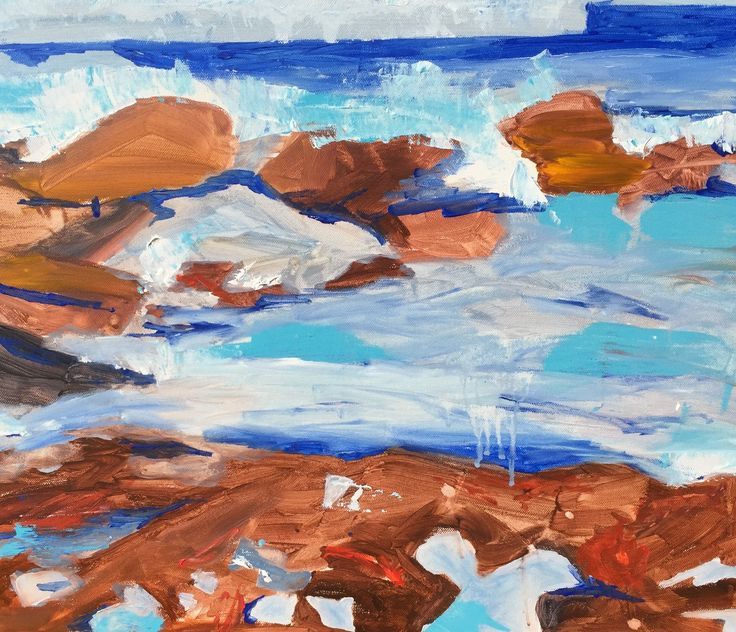 "Beyond Bondi -An uptick in Blowhole interest.  2015 24x20"" Acrylic on Canvas.  With the shadow of the south Bondi headland in the distance the warm winter ocean fills the North Bondi rock pool to overflow. A beautiful place for an August Swim. Water Temperature 20 Air Temp 15"