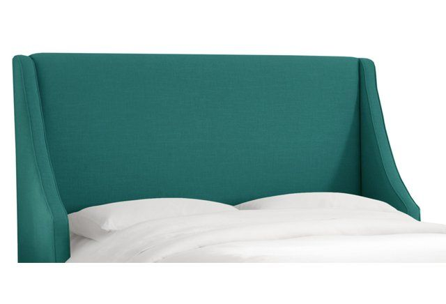 Teal Davis Wingback Headboard, Full