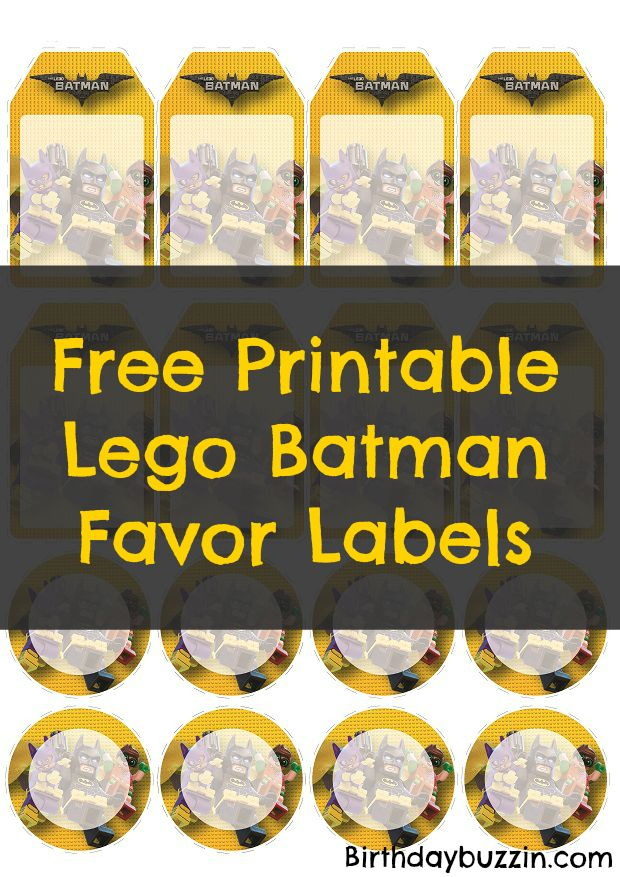 Free printable Lego Batman Favor Tags  Lego Batman party favors