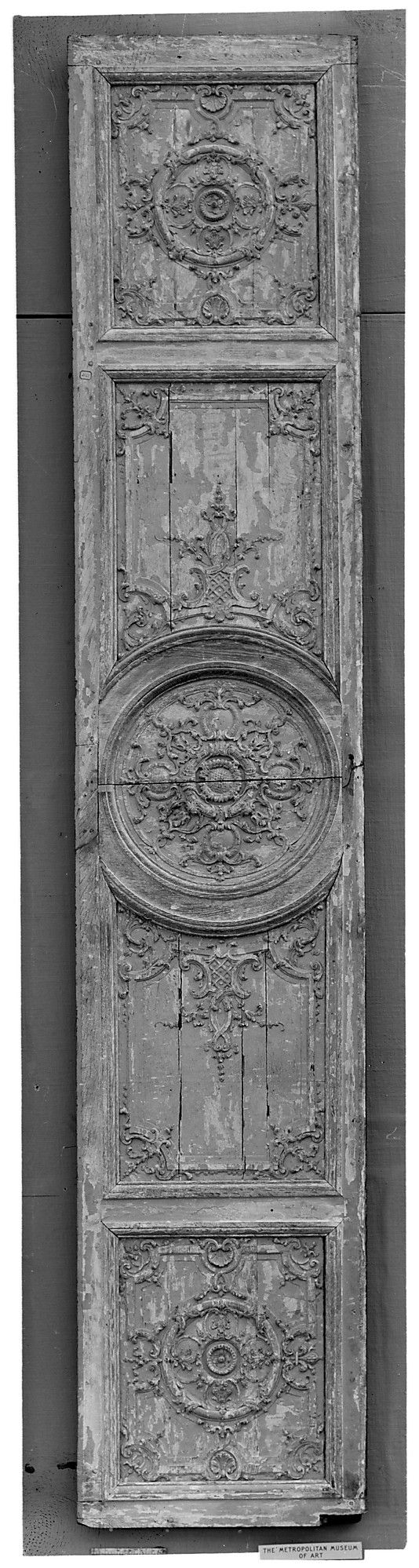Panel: late 17th-early 18th century - French oak carved and painted gray: