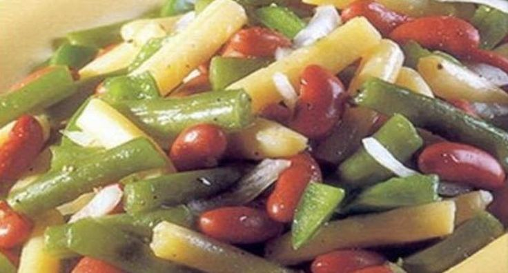 "The KFC bean salad is a traditional ""three bean"" type of salad that combines green beans, kidney beans and butter beans. While the dish is good freshly prepared, the flavour is enhanced by marinating in the refrigerator."