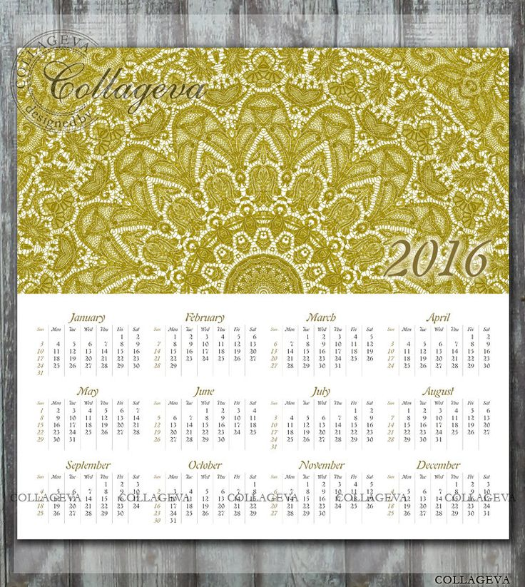 2016 Printable Year Calendar, 12x12 inch, wall art, scrapbook page, home decor, elegant gold lace doily, Mandala, Instant Download (C010) by collageva on Etsy