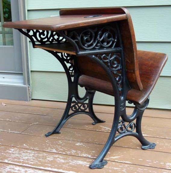 Antique wood and cast iron child's school desk - 34 Best Vintage School Desks Images On Pinterest Old School