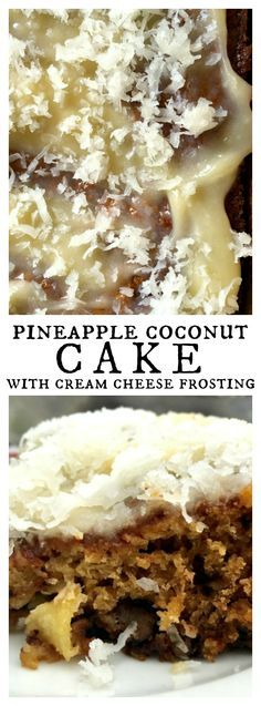 Pineapple Coconut Cake with Cream Cheese Frosting for spring or Easter dinners!