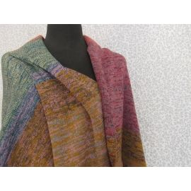 Knitted Shawl with Tassels - Multicolor