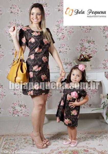 Vestidos mãe e filha estampado florido preto