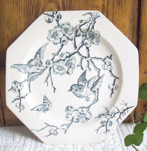 ¤ Manufacture Creil et Montereau décor hirondelle 1841-1895. French ironstone plate 'swallow'