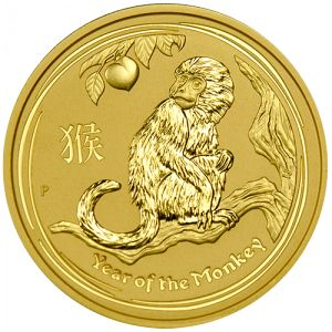 """2016 Australian Gold Year of the Monkey - The Perth Mint has released the first of the 2016 """"Year of the Monkey"""" gold coins in several sizes. Minted as part of the Australian Gold Lunar Coin Series, these coins have limited worldwide mintages and a new design each year representing the ancient Chinese Lunar Calendar.  Struck in .999 fine gold, each one comes encapsulated in a hard, plastic case. - http://www.austincoins.com/2016-australian-gold-year-of-the-monkey-2-oz.html"""