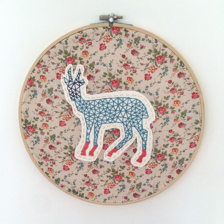 Bokkie. Embroidered on paper and fabric.
