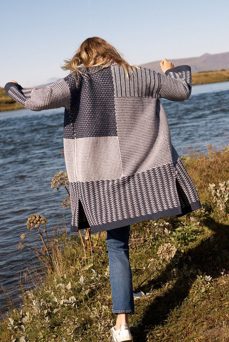 madewell collage cardigan sweater worn with the high-rise slim boyjean.