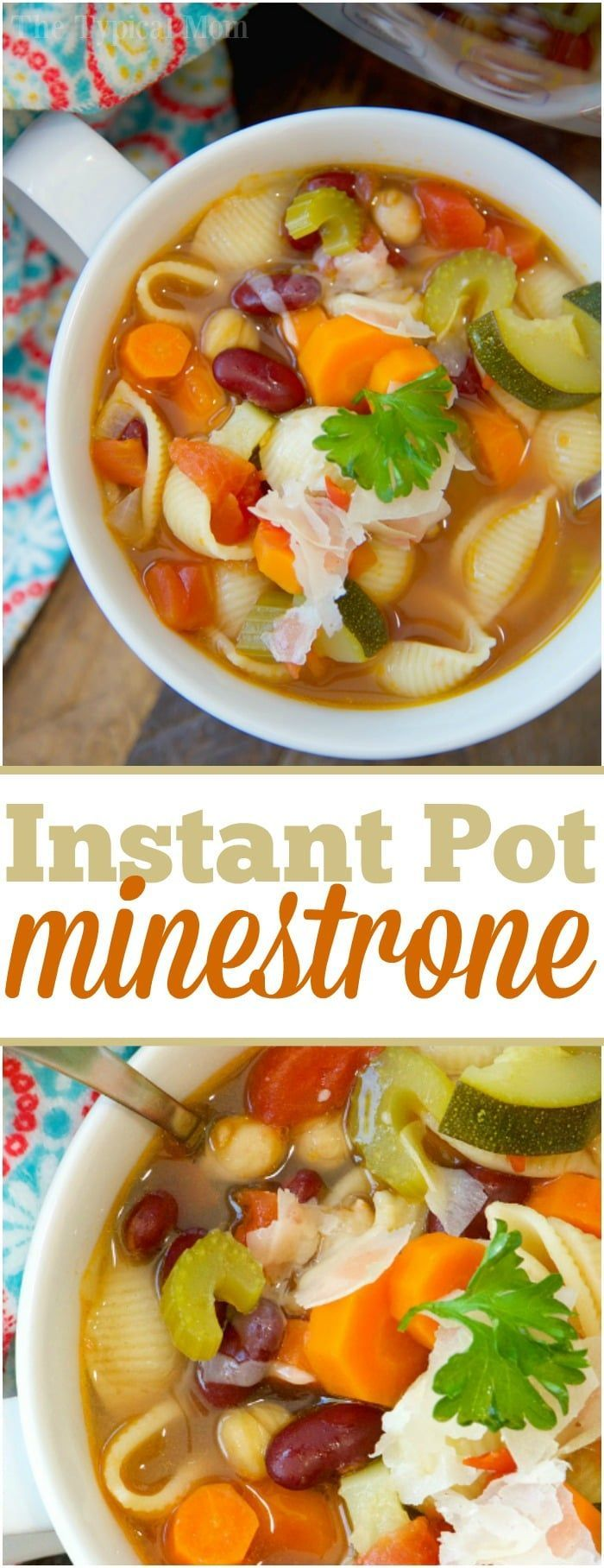 This easy Instant Pot minestrone soup recipe is full of flavor! Healthy and vegetarian too, my kids raved that this was their favorite pressure cooker soup. ad via @thetypicalmom (Favorite Pins Meals)