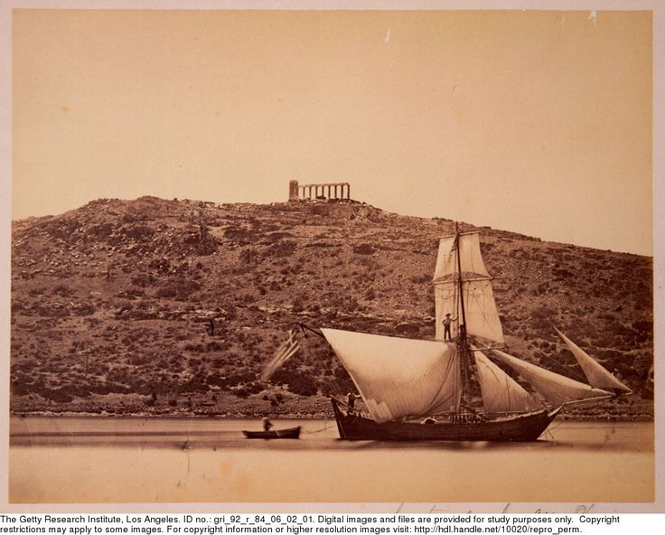 Le temple du Cap Sunium, [ca. 1860-ca. 1890]  View of the Temple of Poseidon, Cape Sounion, Greece, with a sailboat in the foreground. Moraites, Petros (b. 1832), photographer.  Gary Edwards collection of photographs of Greece
