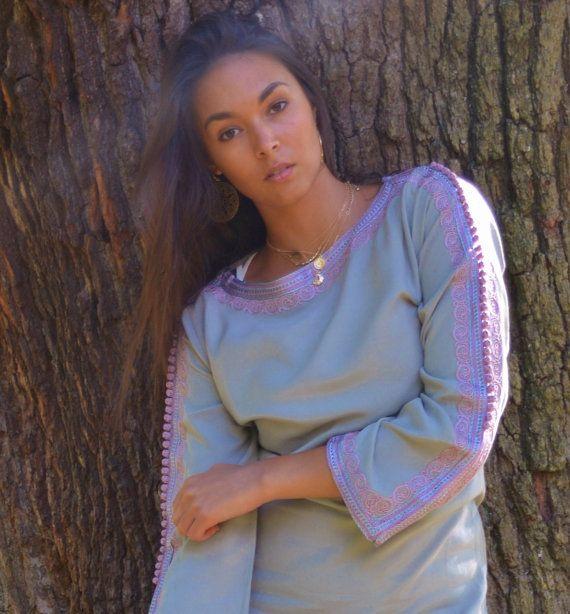 Grijs Lila trompet mouwen tuniek jurk-Latishia stijl ideaal