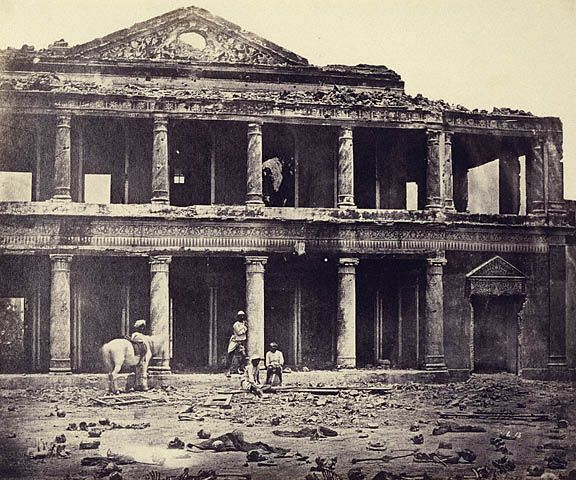Interior of the Sikandar Bagh after the slaughter of 2,000 rebels by the 93rd Highlanders and 4th Punjab Regiment, April 1858. Photo at the J Paul Getty Museum. Photo at the Brown University Library.