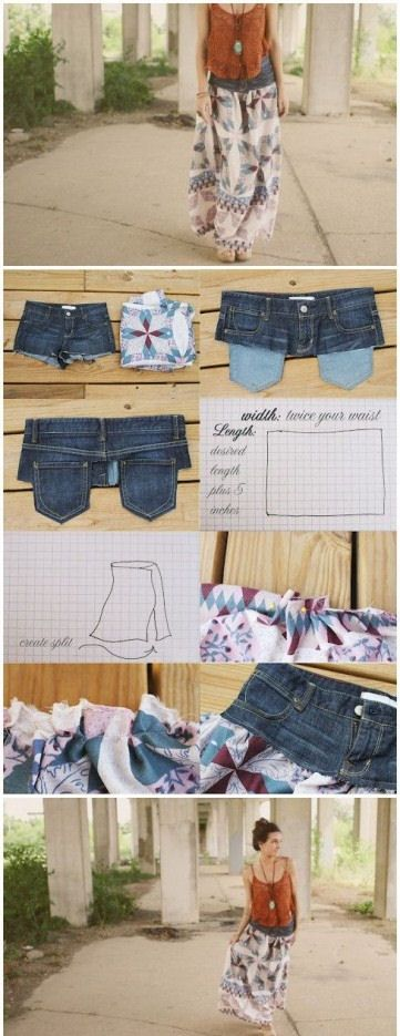 DIY Jean Skirt crafts craft ideas easy crafts diy ideas diy crafts diy clothes diy skirt easy diy fun diy craft clothes craft fashion fashion diy craft skirt diy sewing sewing ideas sewing crafts
