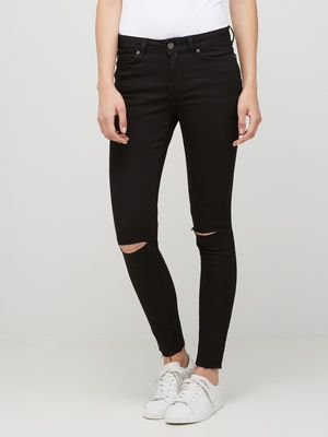 KNEE-CUT KNÖCHEL- JEANS, Black