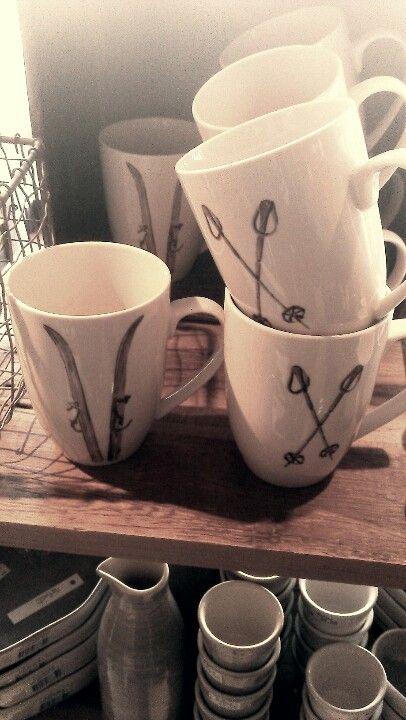skis and poles mugs