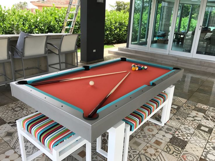 Gorgeous Custom South Beach Outdoor Pool Table On A Rooftop In Puerto Rico.  We Custom