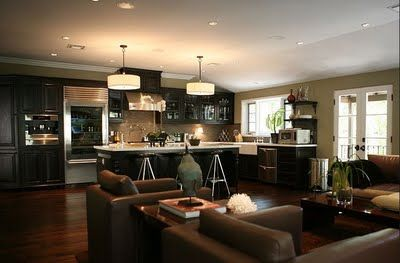 Jeff Lewis Kitchen/Living Area. Love the layout. Open kitchen flowing into living room is what I am looking for. I love Jeff Lewis.