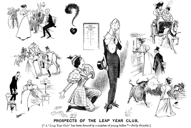 Prospects of Leap Year Club. Women in man's roles. caricatures