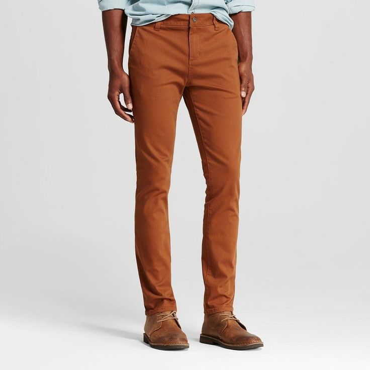 Chor Men's Slim Fit Stretch Tapered Chino Pants - Tobacco (Black) 33x32
