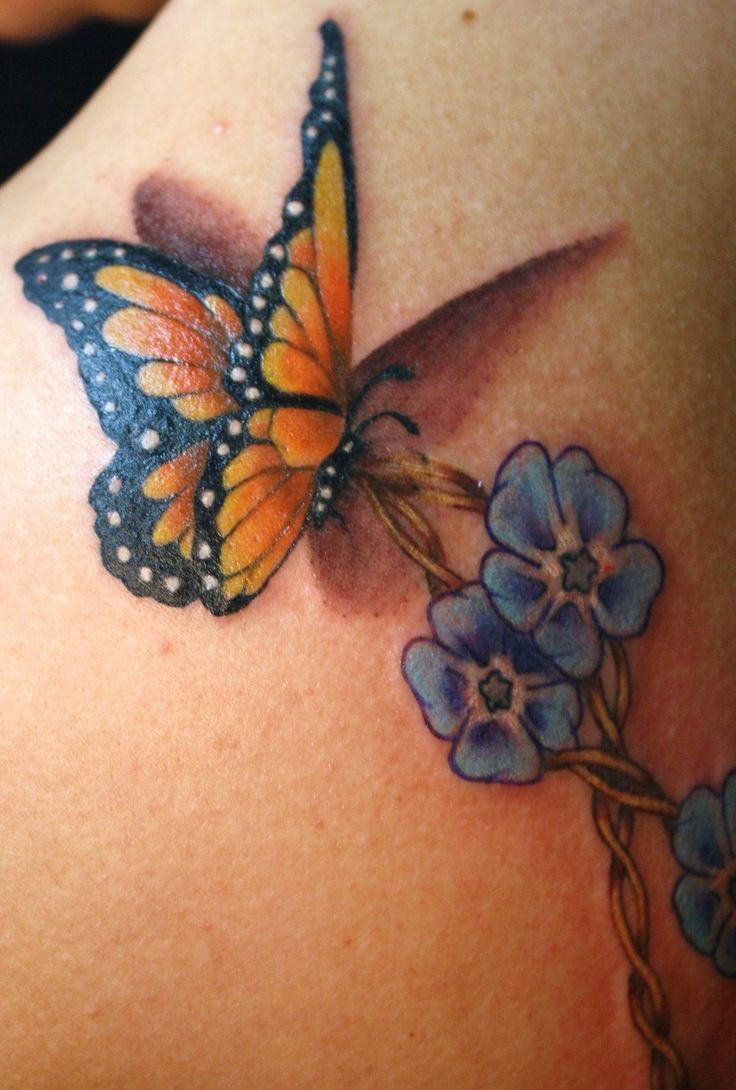 Photo Realistic Flower Tattoos Google Search: Monarch Butterfly And Forget Me Nots Tattoo