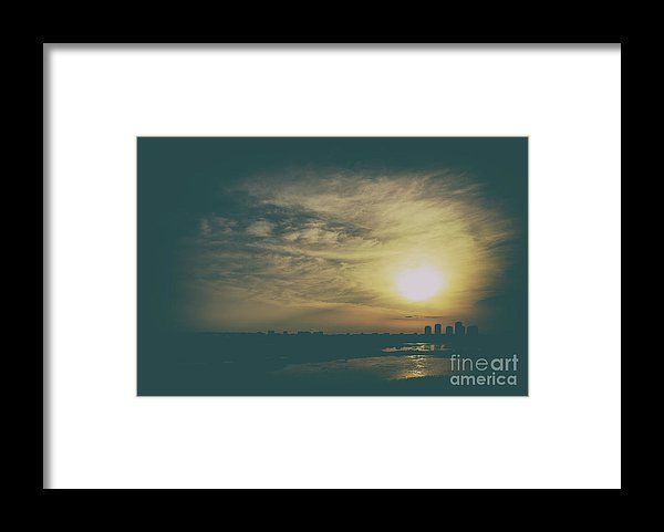 Summer Sunset Over Bucharest City Skyline In Romania Framed Print