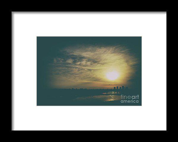 Summer Sunset Over Bucharest City Skyline In Romania Framed Print