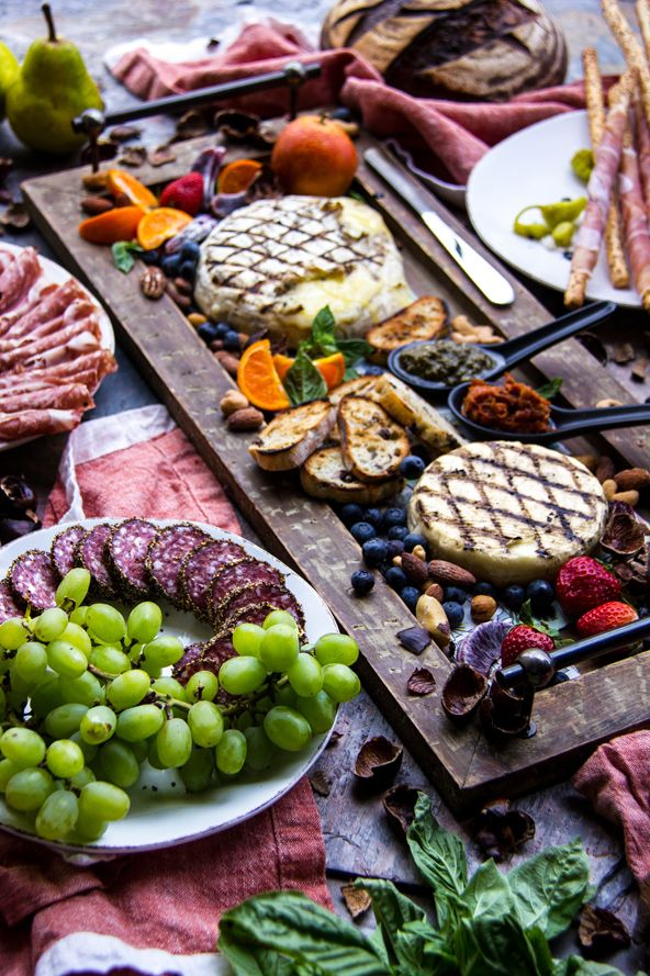 """Garlic and Rosemary Grilled Brie with Farm to Table French Charcutterie Platter 