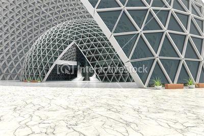 Szarość i biel w InteractiveStock. Architektura futurystyczna. #korytarz #szkło #budynek #konstrukcja
