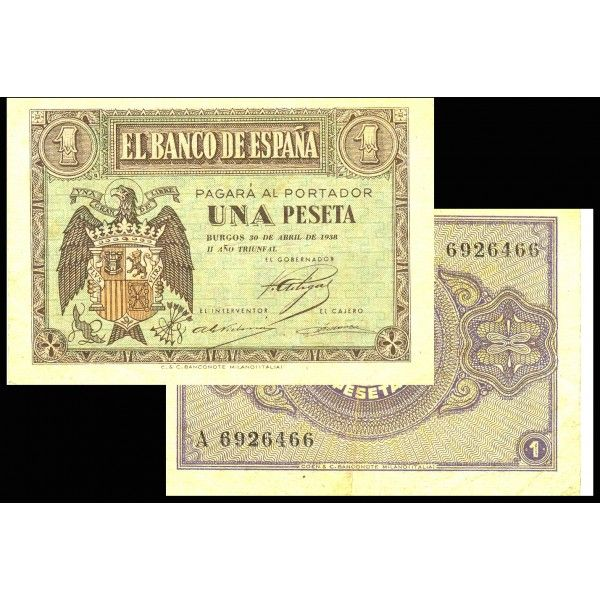 """BILLETE ESPAÑA 1 PESETA 30 ABRIL 1938 """"BANCO ESPAÑA BURGOS"""" EBC"""