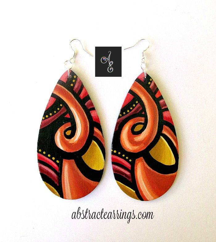 """Orange Crush"" Hand Painted Wood Earrings by Abstract Earrings & Accessories #colorful #handmade #abstract #art #jewelry, Orange Earrings, Art Earrings, Handcrafted Earrings, Unique Earrings, Wood Earrings, Tear Drop Earrings, Art Jewelry, Cosmic Earrings"