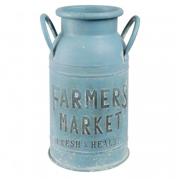 Vintage Farmers Market dombornyomott antikolt kék fém tejeskanna