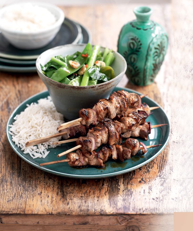 Asian Grilled Pork Skewers with Garlic Greens. Get the recipe in Healthy Food Guide's free eBook. Download it here http://www.healthyfoodguide.com.au/healthy-food-guides-all-time-favourite-recipes